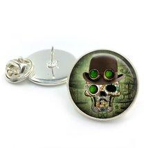 Steampunk Green Eye Sugar Skull Glass Dome Round Cabochon Lapel Tie Pin ... - $5.99