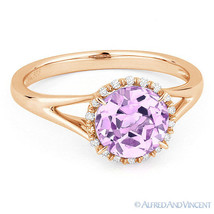 1.28 ct Round Pink Amethyst & Diamond Halo Engagement Promise Ring 14k R... - £306.16 GBP
