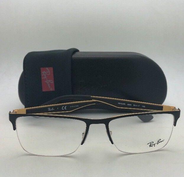 d94762053a49 New RAY-BAN Eyeglasses RB 6335 2890 54-17 145 Semi Rimless Black   Gold  Frames