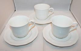 New Set of 3 Mikasa Ultima Plus HK 400 Antique White Coffee Tea Mug Cups Saucers - $57.53