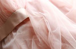 Blush Pink Long Tulle Skirt High Waisted Plus Size Long Tulle Tutu Blush Skirt image 7