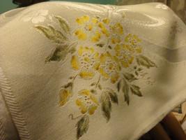 Vintage Linen Napkins Set of 8 Jacquard Yellow Wild Rose 22 x 22  - $53.34