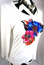 St John Top M Size Medium White Floral Rhinestone 3/4 Sleeve Womens Shirt Blouse - $96.52