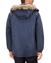 Men's Heavy Weight Winter Coat Removable Faux Fur Trim Hood Puffer Parka Jacket image 3