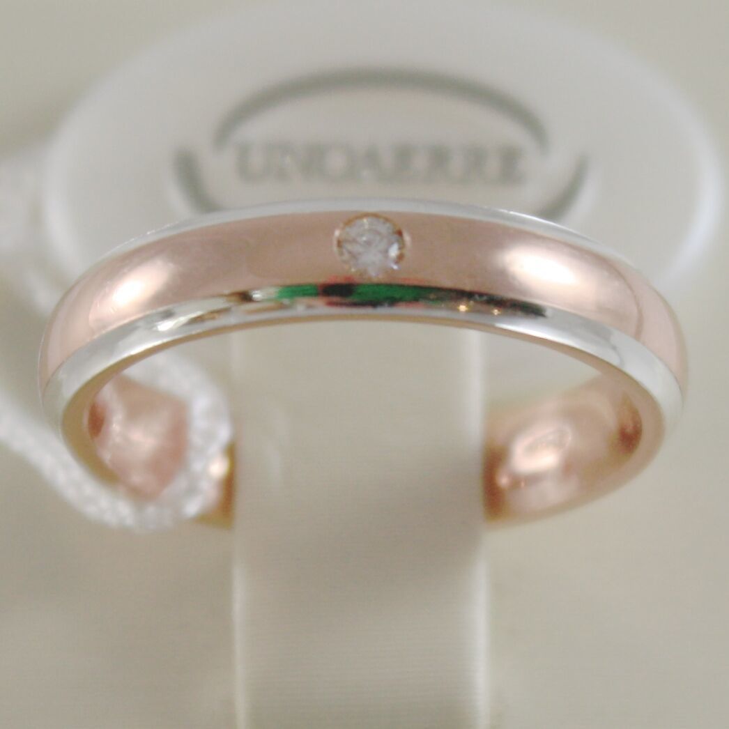 18K ROSE & WHITE GOLD WEDDING BAND UNOAERRE RING 4 MM WITH DIAMOND MADE IN ITALY