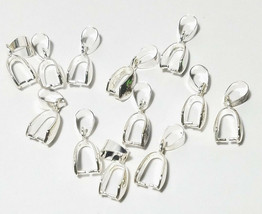 20 Large Bright Silver Plated Pendant Bails 20x9mm