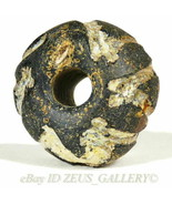 Ancient Glass Jewelry Bead Black & white Zig-zag Trailings Rondelle X Bo... - $85.50