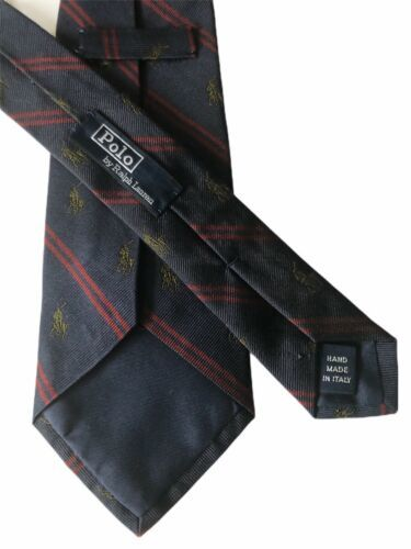 "Primary image for Polo Ralph Lauren Men's Blue/Red Striped Horse Motif Silk Tie - 58.5""L X 3 1/8""W"