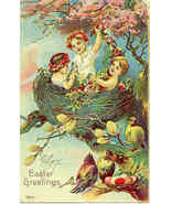 Easter Greetings From The Cherubs Vintage Post Card - $7.00