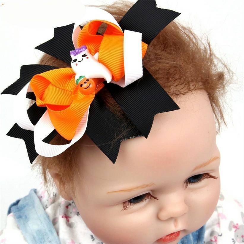 Halloween Hairpin Cartoon Bat Ghost Hair Clips Kids Girls Bows Barrette Headwear