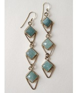 Aquamarine 3 Layer Earrings Sterling Silver Blue Handcrafted Long Dangle - $175.00