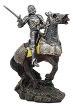 Ebros Medieval Swordsman Knight with Suit of Armor Charging On Cavalry Horse Sta - $47.99