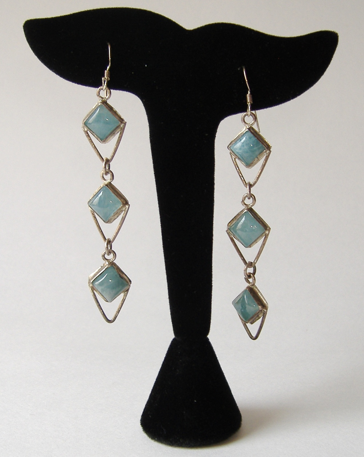 Aquamarine 3 Layer Earrings Sterling Silver Blue Handcrafted Long Dangle