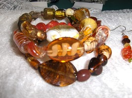 Autumn Dreams Glass and Ceramic Bead Handmade Gypsy Bracelet and Earring... - $8.00