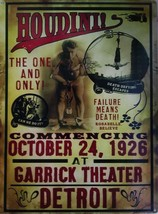 The Great Houdini Garrick Theater Metal Sign - $29.95
