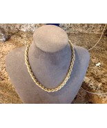 Vintage signed TRIFARI intertwined Faux Pearl gold tone chain necklace 1... - $14.85