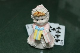 1930s-40s Porcelain Christmas Girl With Packages And Lace Japan - $16.83