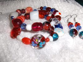 Razzle Dazzle Glass and Ceramic Bead Handmade Gypsy Bracelet and Earring... - $8.00