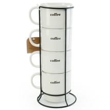 Set of 4 Coffee Break Tower Mugs in White by Signature Housewares - ₹2,775.39 INR