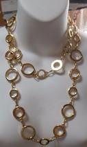 Alfani Long Gold-tone Round Circle Rhinestone Chain Link Necklace - $21.78