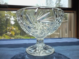 Clear Cut Etched Crystal Pedestal Compote Dish Stars Fans  - $52.88