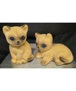VINTAGE PAIR OF FUZZY PORCELAIN CAT KITTEN FIGURINES - $20.00