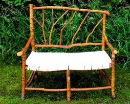 Handmade Vtg NW Washington Vine-Maple/w Bark Wood Settee Sofa & Handwove... - $2,499.00