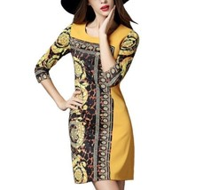 NEW Boutique Tropez Yellow Gold Tunic Dress Long Top Floral Print M - $16.69