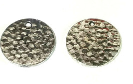 HAMMERED LOOK CIRCLE DISC FINE PEWTER CHARM DANGLE