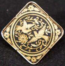 Vintage Toledo Gold Plate Damascene Brooch Love Birds & Flowers Designer ia - $19.99