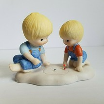 Vintage Country Cousins Enesco1985 Scooter and Skip Playing Marble Figurine - $17.10