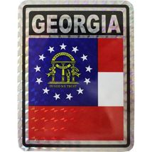 Wholesale Lot 6 State of Georgia Flag Reflective Decal Bumper Sticker - $22.00