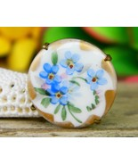 Vintage Victorian Porcelain Brass Flowers Brooch Pin Painted Gold Trim - $24.95