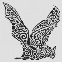 Tribal Bat monochrome cross stitch chart White Willow stitching - $8.10