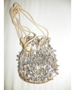 Vintage silver beaded & sequined drawstring purse Exclusive tag 6 x 5 in as is  - $14.31