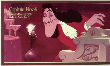 Disney Tinkebell Capt. Hook Lithograph Lt.Ed. 1500