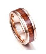 8mm Width Rose Gold Wood Grain Men Rings Tungsten Carbide Ring Male Wedd... - $19.83