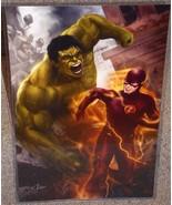 The Incredible Hulk vs The Flash Glossy Art Print 11 x 17 In Hard Plasti... - $24.99