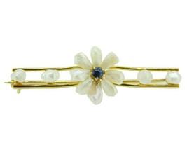 14k Yellow Gold Freshwater River Pearl Sapphire Flower Pin (#J4601) - $395.00