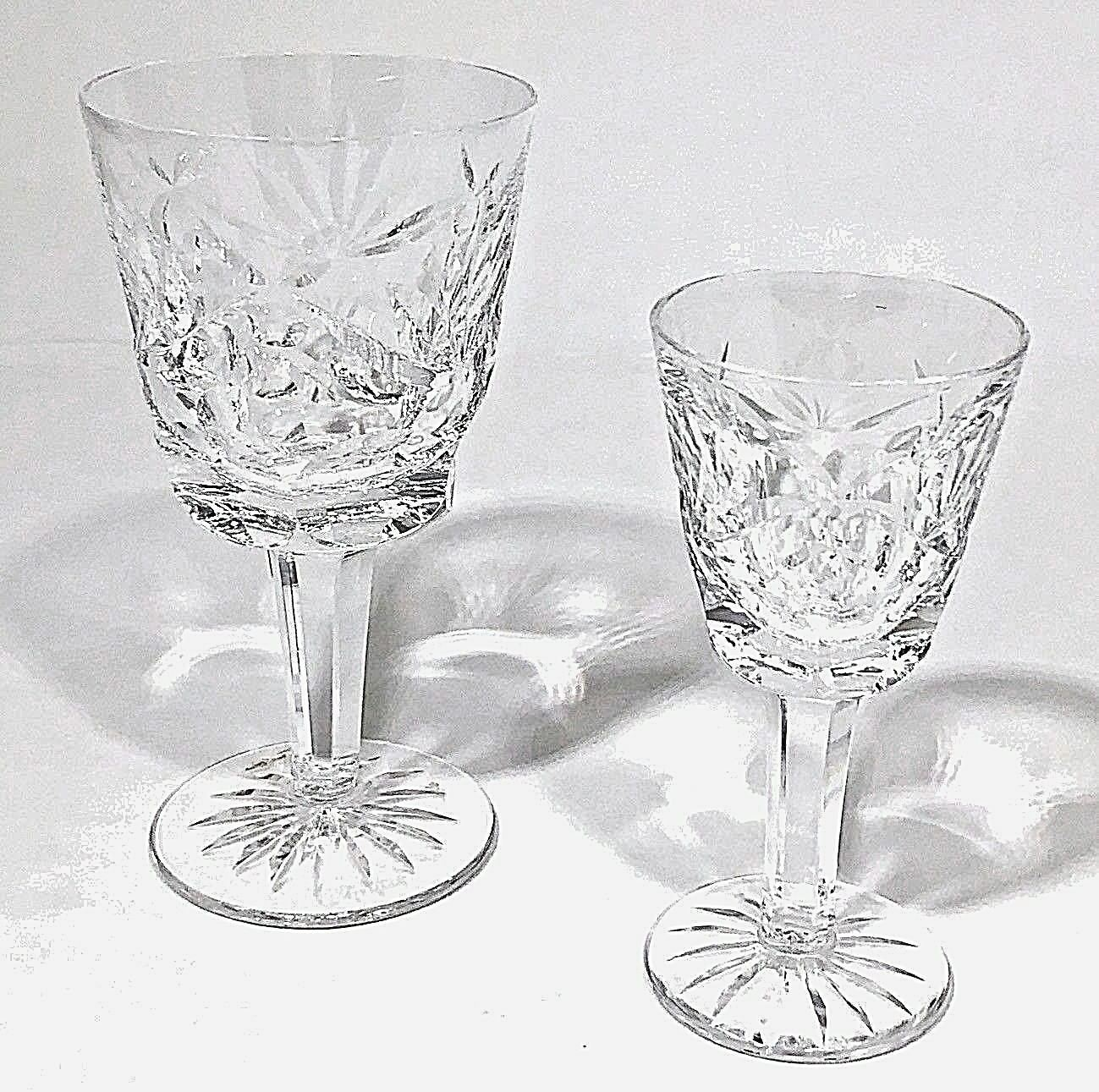 Primary image for Waterford Crystal Claret Wine Ashling Pattern, Signed, Vintage, Pair, 6 Ounces