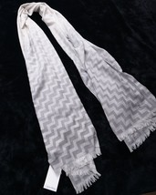Nwt New Calvin Klein Scarf Gray Geometric Print - $28.49