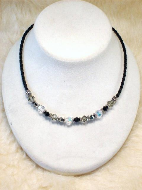 Cookie Lee Austrian Crystal & Braided Leather Cord Necklace - #89157, New!