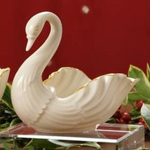 Lenox Wedding Swan Figurine Large Centerpiece Bowl Gold Accents Limited ... - $118.80
