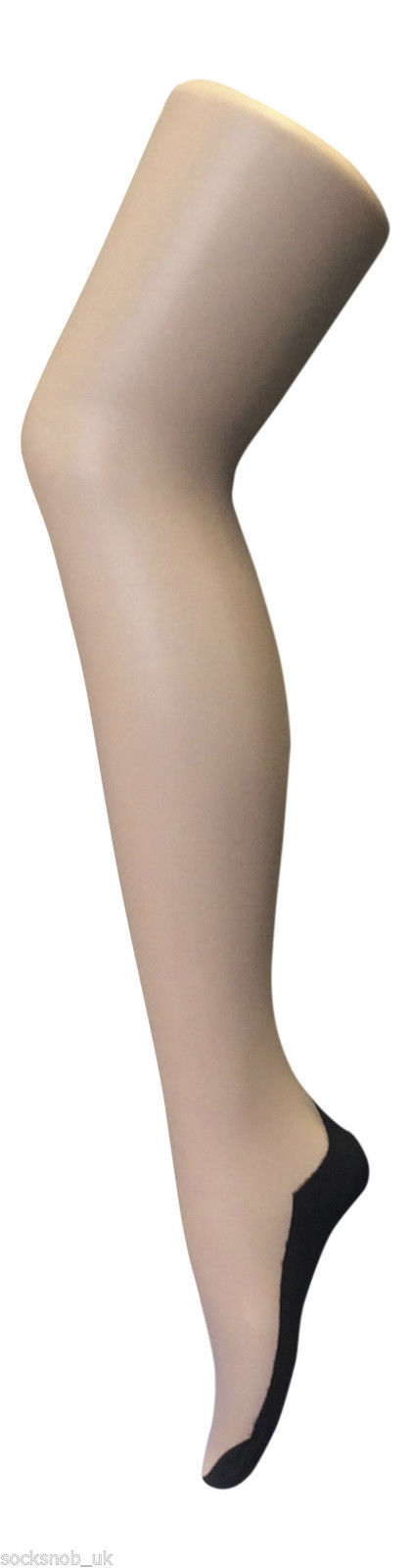 Sock Snob Retro Back Seam Designer Tights Size 8-14 uk, 36-42 eur Nude/Black M
