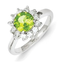 STERLING SILVER GENUINE NATURAL PERIDOT & CZ HALO CLUSTER RING BAND - SI... - £52.79 GBP