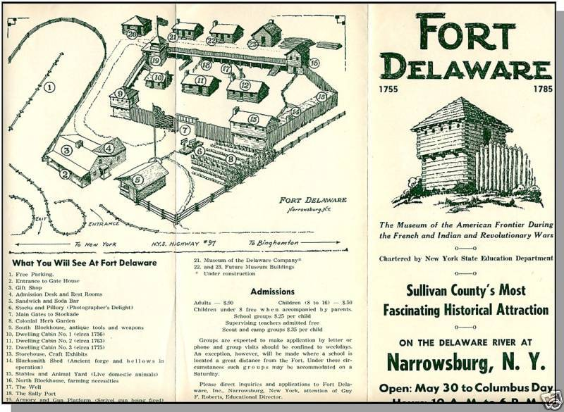 NARROWSBURG, NEW YORK/NY, Fort Delaware Brochure/Map