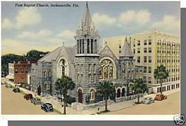 JACKSONVILLE, FLORIDA/FL POSTCARD, First Baptist Church - $4.50