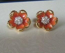 Vintage Signed NOLAN MILLER Peach Enamel & Clear Rhinestone Flower Clip ... - $95.00