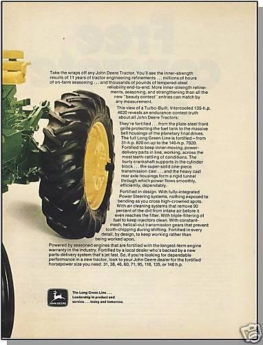 1971 JOHN DEERE 2-PAGE AD, Turbo-Built Farm Tractor,