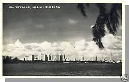 MIAMI, FLORIDA/FL POSTCARD, Skyline,Black & White Photo - $5.50